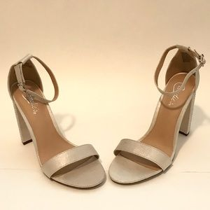 CANDIE'S Silver Strappy Silver Studded Block Heels